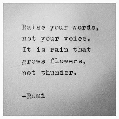 Raise your words, not your voice. It is rain that grows flowers, not thunder. ~Rumi.