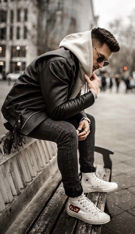 65c500c1c94 @tommeezjerry - with a monochrome fall outfit with a black leather jacket  gray hooded sweatshirt black skinny denim white converse chuck taylor comme  des ...
