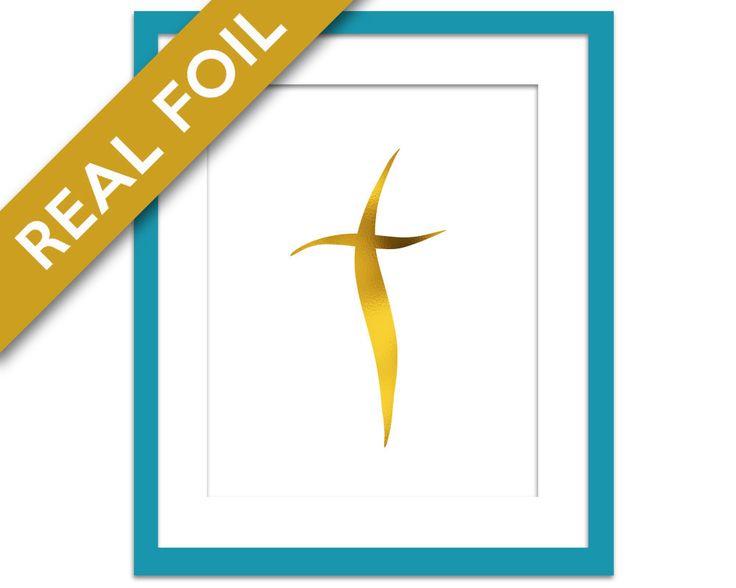 Christian Cross Gold Foil Art Print - Christian Gifts - Christian Art Home Decor - Christian Poster - Christian Icon - Christian Wall Art by BoutiqueLumiere on Etsy