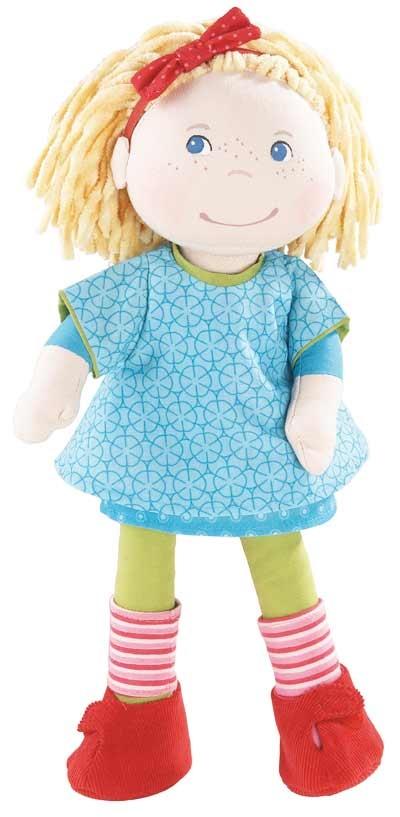 Muñeca Annie de Haba. Estas amiguitas tienen una cara tan simpática, y una ropa con alegres colores que enseguida las niñas la quieren adoptar!