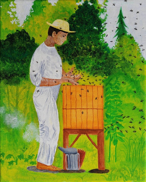The Beekeeper, acryl on canvas, 50x40 cm, 2011