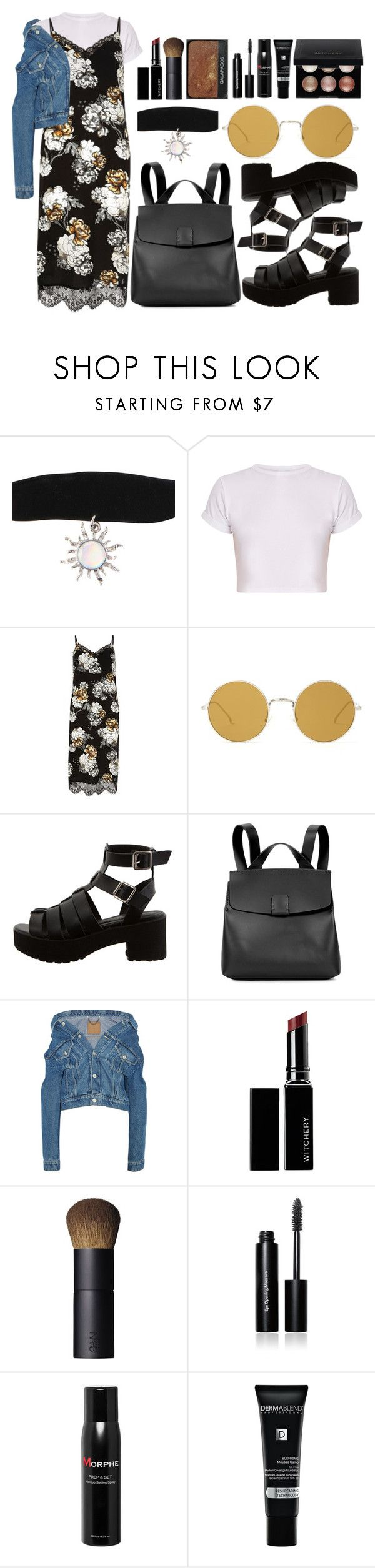"""""""90's"""" by thegoodmansdaughter ❤ liked on Polyvore featuring Hot Topic, River Island, Illesteva, Nico Giani, Balenciaga, Witchery, NARS Cosmetics, Bobbi Brown Cosmetics, Morphe and Dermablend"""
