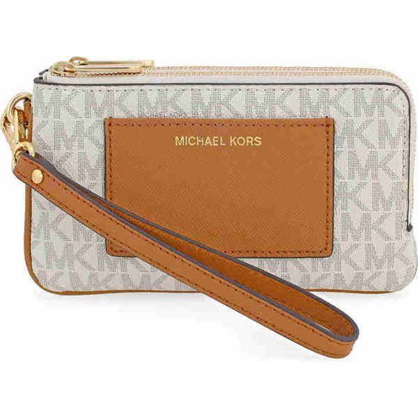 Michael Kors Medium Bedford PVC Wristlet - Vanilla / Acorn ($62) ❤ liked on Polyvore featuring bags, handbags, clutches, michael kors handbags, michael kors, beige purse, michael kors purses and pvc purse