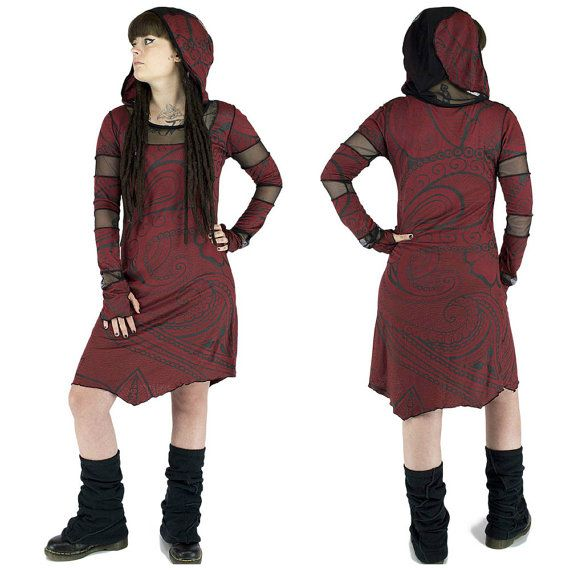 INANNA MAIA Winter dress ,red, prints tattoos Maori, long sleeves, fishnet collar, hoodie, teuf, rave, trance, psywear, tribal, Handmade Materials: elastane, cotton, hooded, long sleeves, finger finger, fishnet on sleeves, collar and hood, mittens with sleeves, large hood, medium length dress, pointed front and back, printed tribal tattoos, Maori tattoos