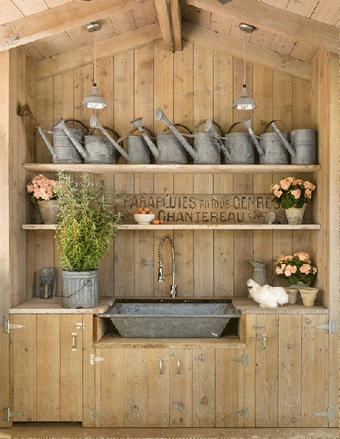 Patina Farm - Design Chic. outdoor sink potting shed