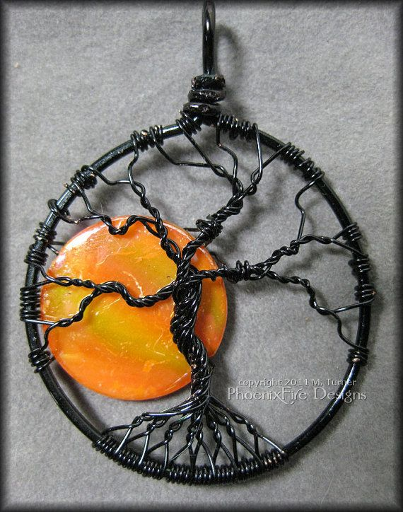 Under A Halloween Moon - Tree of Life Pendant with Orange Pearl Coin Bead in Black Wire $50 #ibhandmade: