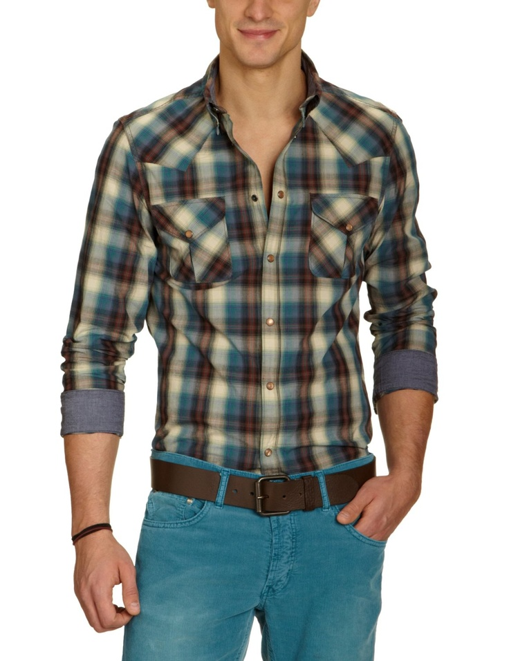 Long Sleeve Ombre Western Woven - $65  100% cotton  Machine Wash  Snap down collar  Mod fit  #flanel #man #shirt #longsleeve