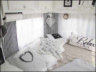 Home Sweet Motorhome - RV decorated in black & white.