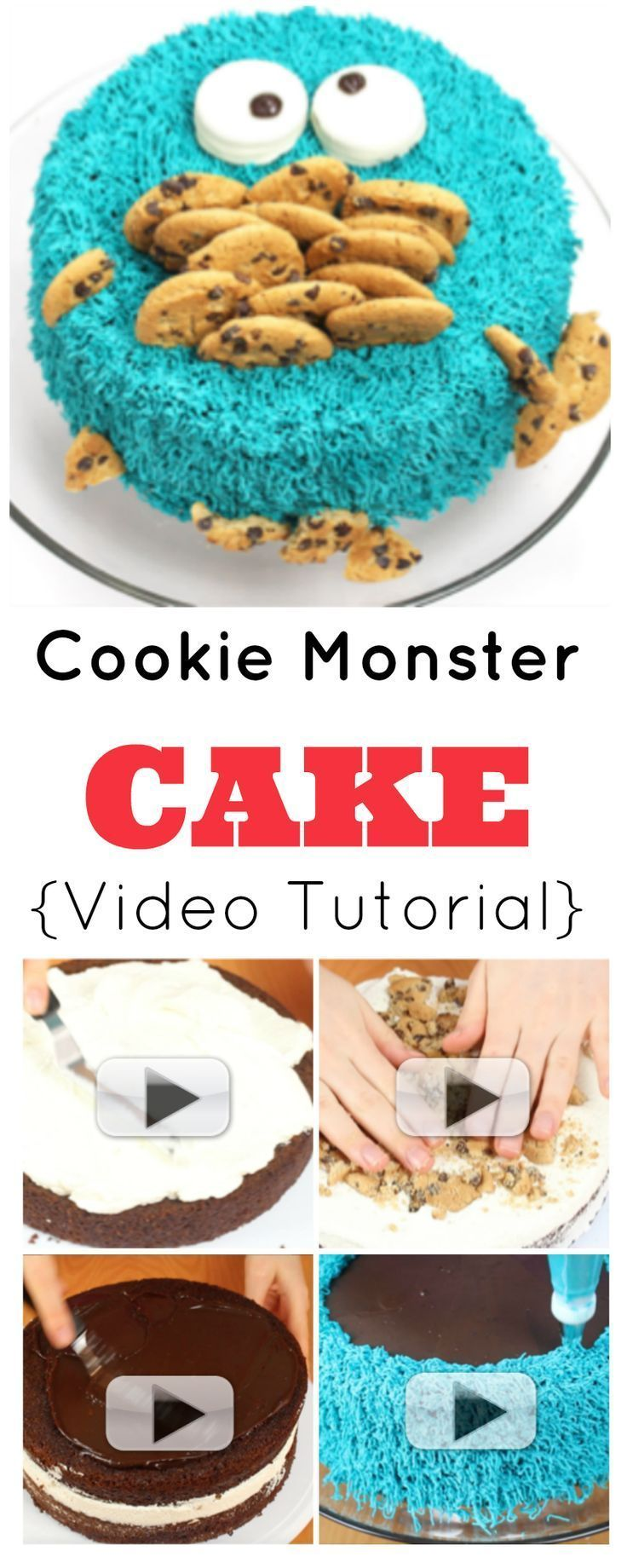 Cookie Monster Cake {Video Tutorial} | How to make a super-silly Cookie Monster Cake! This is perfect for birthdays and baby showers. Moist chocolate cake, cream, cookies, choc ganache & butter cream icing! | http://angelfoods.net/cookie-monster-cake-vide