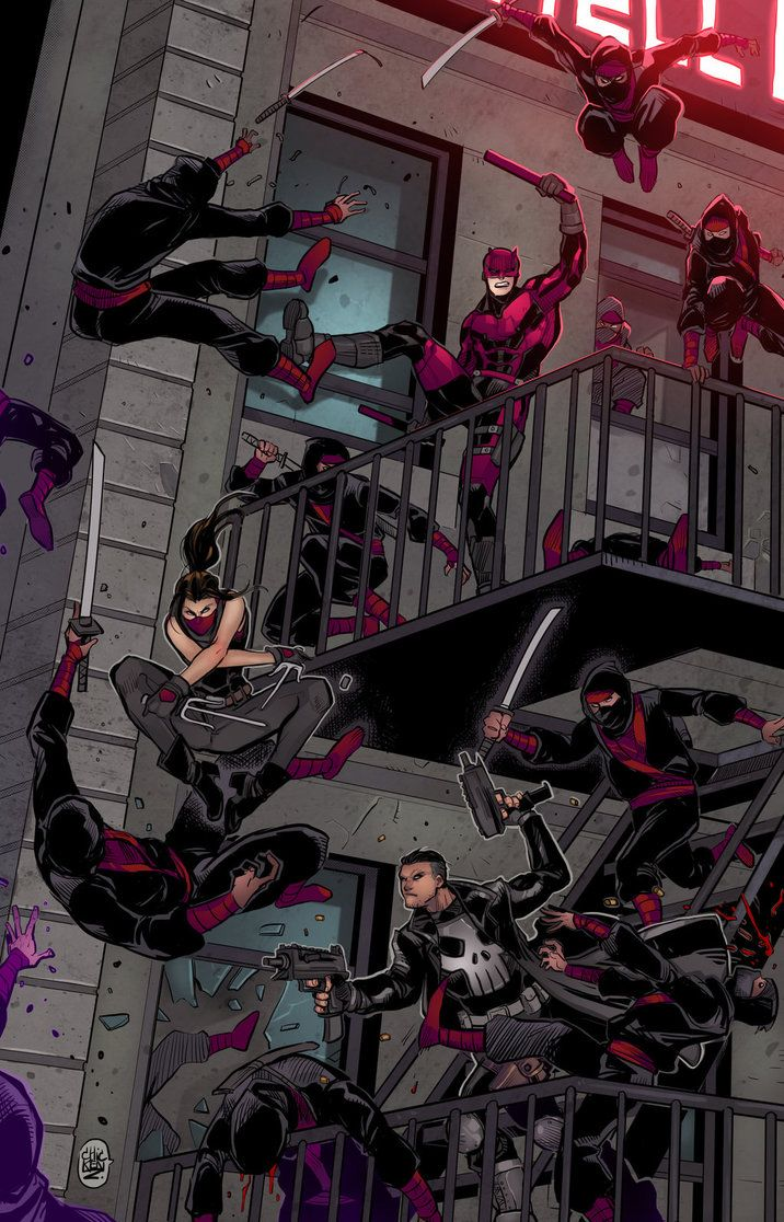 Fighting in Hell's Kitchen by ChickenzPunk Daredevil, Elektra and The Punisher