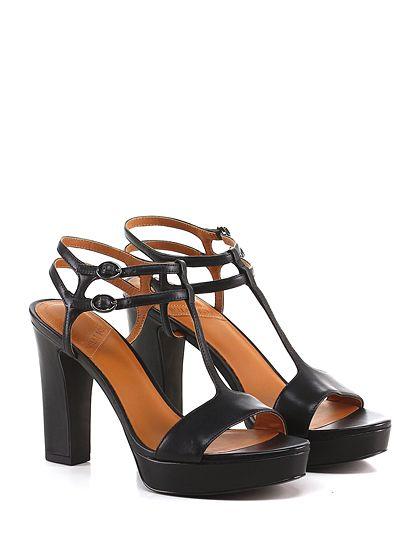What for - Sandalo alto - Donna - Sandalo alto in pelle con doppio cinturino alla caviglia e suola in gomma. Tacco 110, platform 25 con battuta 85. - BLACK - € 159.00