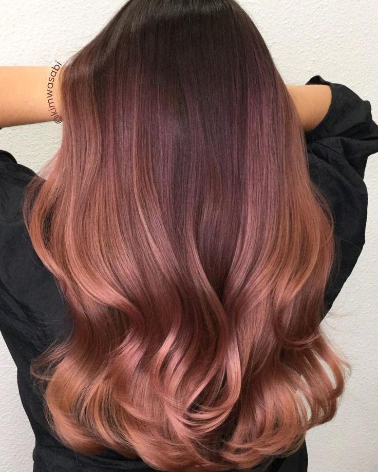 25 auffällige Rotgold-Haarideen für 2017 Alle Frisuren | rosa braunes Haar