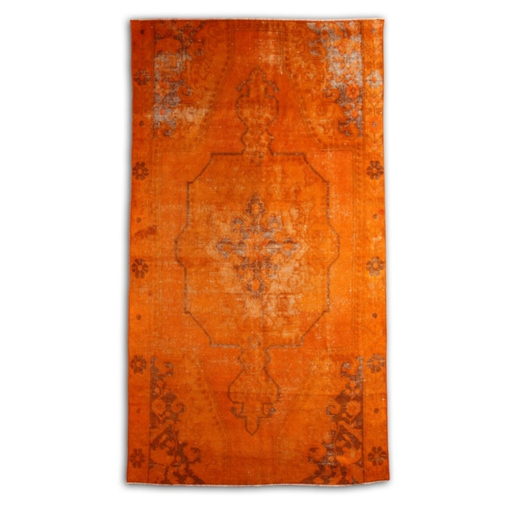 Orange Over Dyed Rug 87 x 47 inch ( 223  x120  cm) reprocessed from Vintage Turkish Carpet. $649.90, via Etsy.