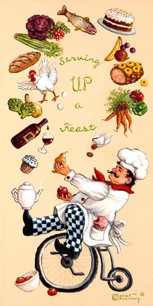 Whimsical Chef Serving Up a Feast, one of set of four posters featuring the whimsical chef. This one features the chef and his magical juggl...