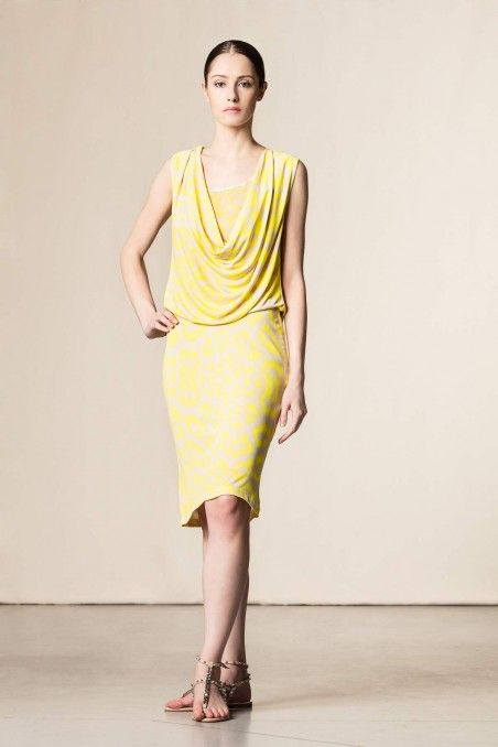 Vestito stampa animalier giallo/beige