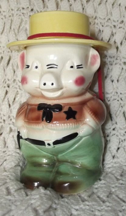 1950s Vintage Sheriff Pig Cookie Jar Made By R R P Co