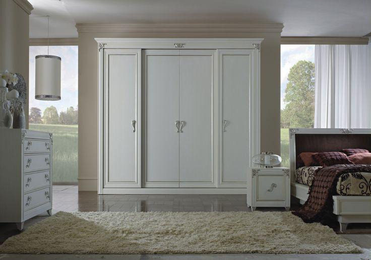 lo stile neoclassico per la camera in bianco a pennello laccato a mano con decori argento