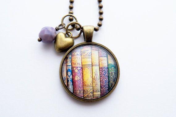 Book Necklace  Gift For Teacher  Librarian Pendant