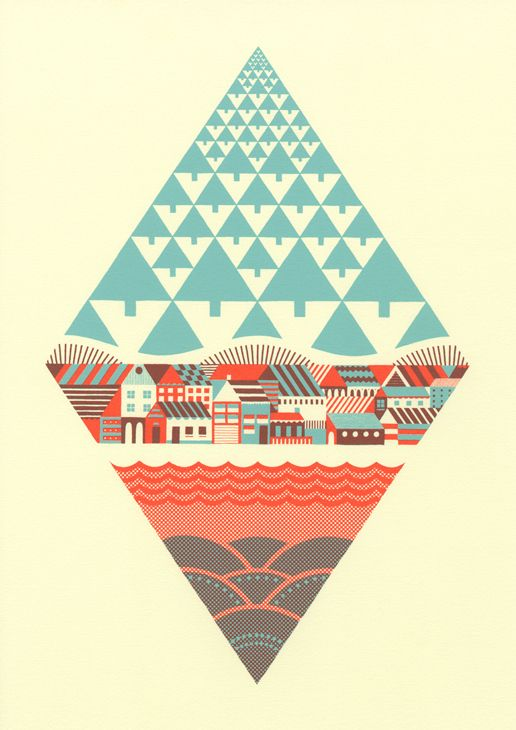 Waterfrontier | Andrew Holder, trees, houses, primary, hills, water,