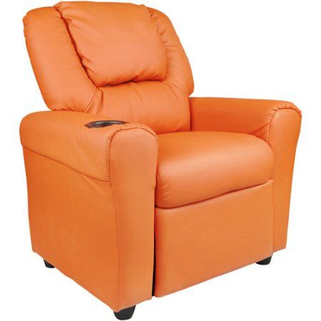 Flash Furniture Kids' Vinyl Recliner with Cupholder and Headrest, Multiple Colors, Orange