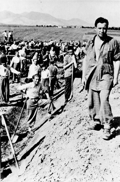 Sept 1941. Jews in a Hungarian forced labor battalion. Forced labor service was implemented in Hungary in the 1930s when Jews were enlisted in these battalions after their military service. This took place simultaneously with the introduction of discriminatory laws against the Jews, particularly in the economic sphere. The process of discrimination reached its peak in 1941, with the passage of racial laws similar to the Nuremberg Laws.