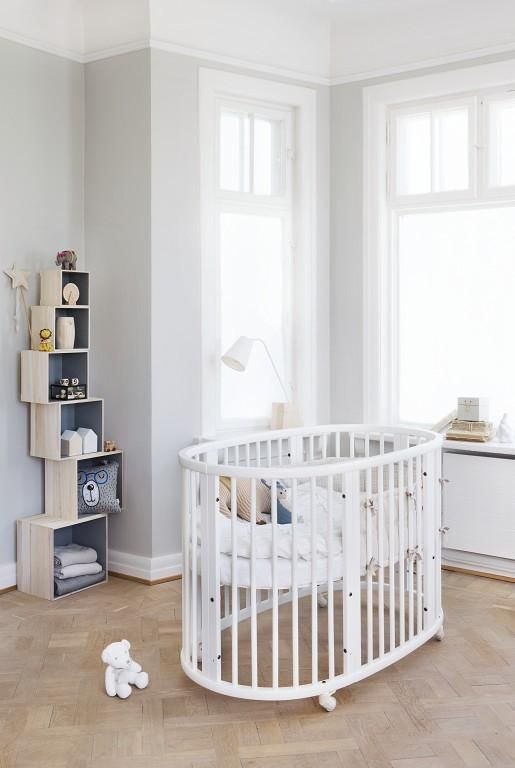 Made from durable solid beech wood with height adjustable mattress bottom that makes lifting your child in and out easier –Stokke Sleepi Crib in White