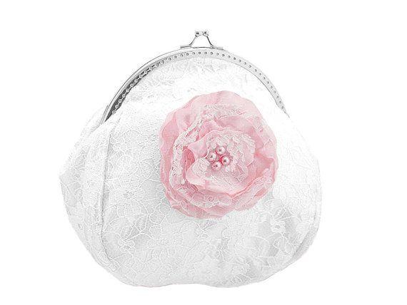 pink and white lace bride handbag bridal  by FashionForWomen