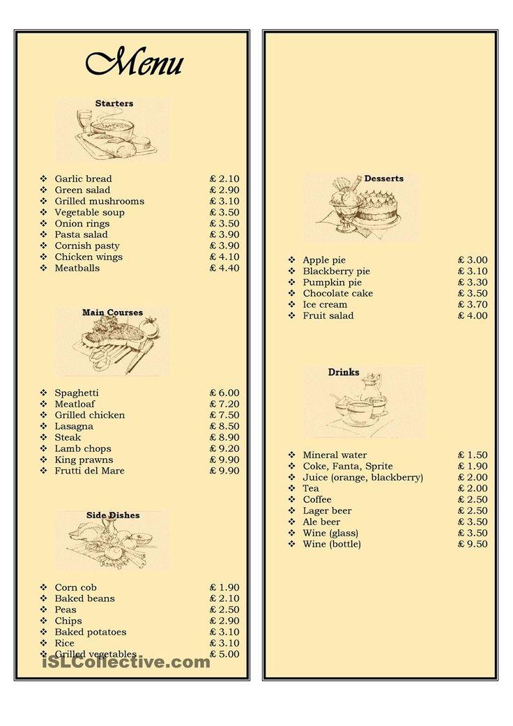 Menu in a restaurant ordering food teaching english for X cuisine miri menu