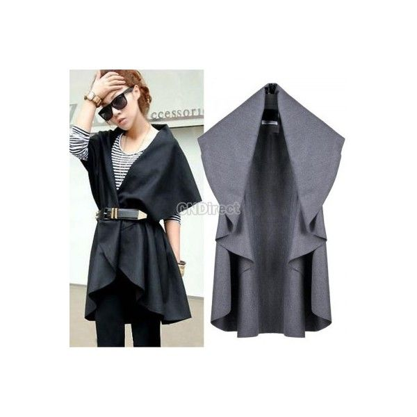 Women Batwing Cape Poncho Wool Top Cardigan Coat Jacket Outwear Turn-down Collar found on Polyvore featuring outerwear
