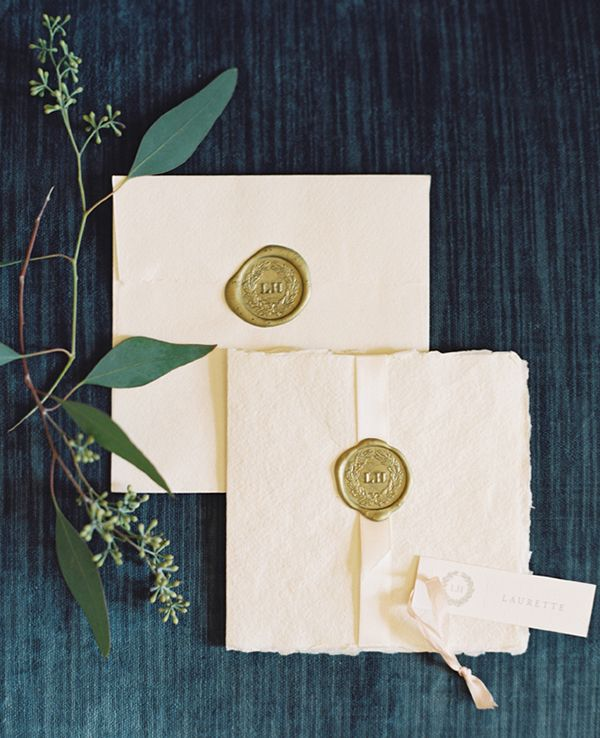 Luxe Cream Stationery with Gold Sealing Wax | Laura Gordon Photography | Raw and Refined Elegant Winter Wedding in Slate and Stone