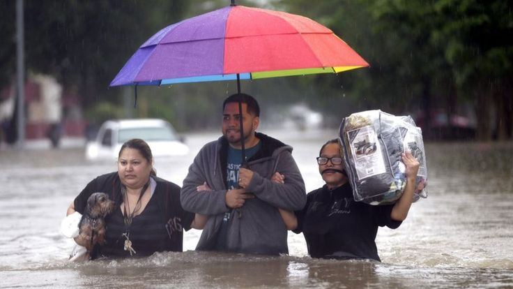 A state of emergency is declared in Houston, the fourth-largest city in the US, after record rainfall claimed five lives.