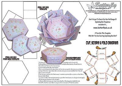 hexagon explosion box template - Pesquisa do Google
