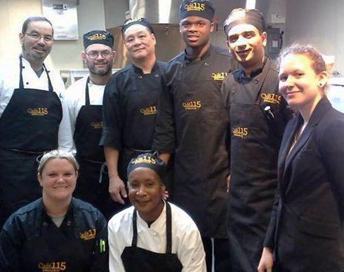 Meet the staff of Cafe 115. Executive Chef Daniel Pliska, Baker Teresa Davis, Head Chef William Provencher, back of house cook Ming Wong, Sous Chef Johnny Andolino, utility cook Chris Addison, line cook Asif Khan, and service supervisor Pamela Weisman.