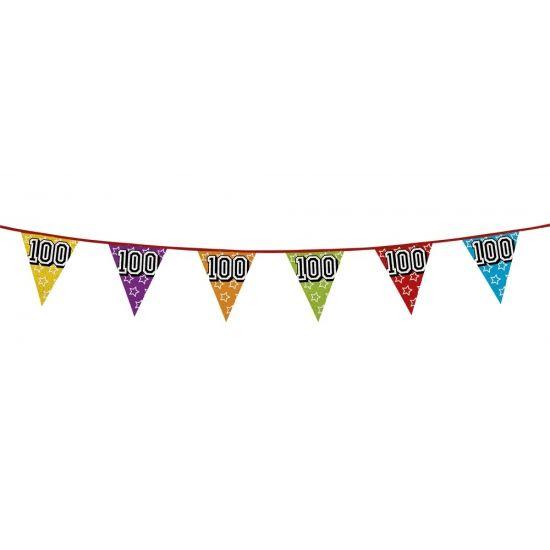 Glitter vlaggenlijn 100 jaar van 8 meter. Een glitter vlaggenlijn (holografisch) met vlaggetjes in diverse kleuren van ongeveer 8 meter lengte met op elke vlag het cijfer 100.