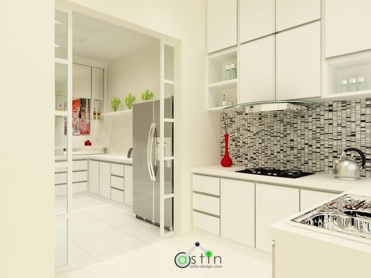White house theme wet dry kitchen interior design for Kitchen decoration malaysia