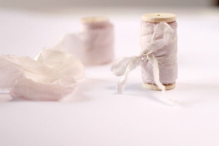 Beige hand dyed silk ribbon on wooden spool, 1/2 inch, 1 inch or 1.5 inches, by…