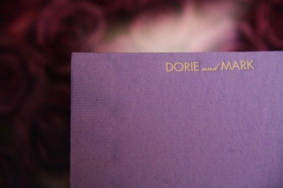 purple napkins formal elegant jewish dc area wedding Love Life Images 550x366 Formal Fall Wedding Reception at Bnai Israel in MD: Dorie + Mark