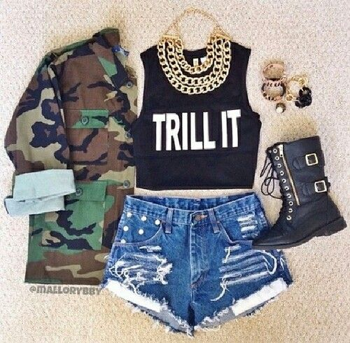 love all of it but the big gold chain! this is one of the most cute outfits ever! omg the army jacket is perfect love love love!!!!