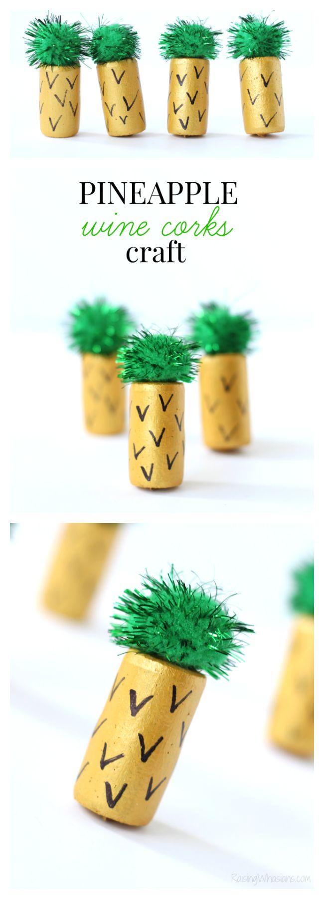 Ananas Weinkorken Craft | Easy & Fun Summer Kids Bastelidee – Whasians aufziehen   – *All Things DIY*