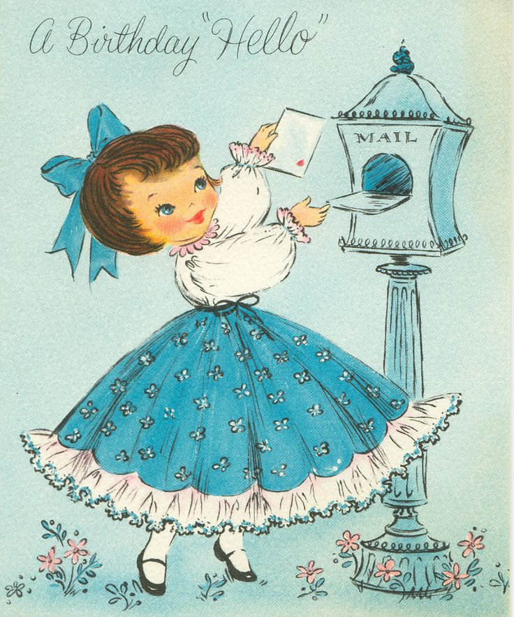 Vintage Birthday Card This card looks just like the one's my grandma sent me every year for my birthday!