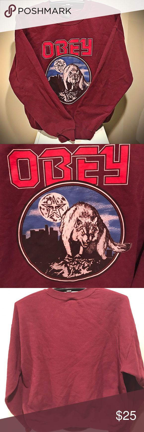 OBEY Burgundy Wolf Crewneck Sweatshirt Badass wolf print ladies crewneck by OBEY! Never worn! Excellent condition! No Trades! Obey Tops Sweatshirts & Hoodies