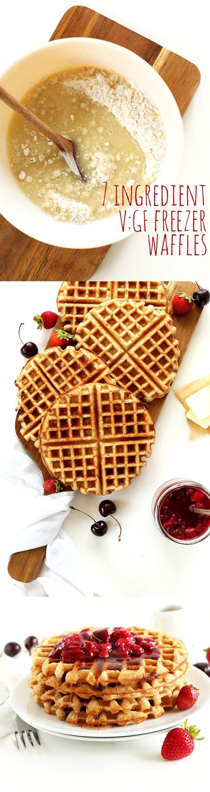 7 Ingredient V GF Waffles that are wholesome, hearty, naturally sweetened and highly customizable by season and preference. #healthy #vegan #glutenfree