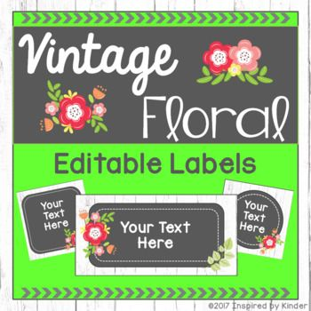 These vintage floral-inspired labels are the perfect accent for your shabby chic classroom dcor. They are perfect for labeling just about anything in your classroom, including cubbies, desks, baskets, book bins, and more! Embellished with a white-washed wood background and vintage floral accents, these labels will nicely complement a number of themes, including a shabby chic, garden, chalkboard, or nature theme.