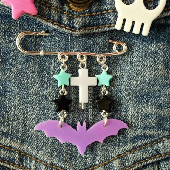 Pastel Goth Jewelry Star Bat Cross Brooch Pastel by blacktulipshop