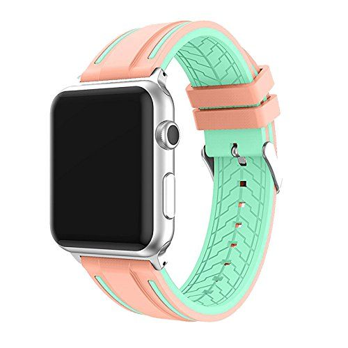 38/42mm Apple Watch Band UBOLE Fashionable New Style Sport Silicone Replacement Band for All iWatch Models Series 1/Series 2/Nike (PINK/GREEN 42mm)
