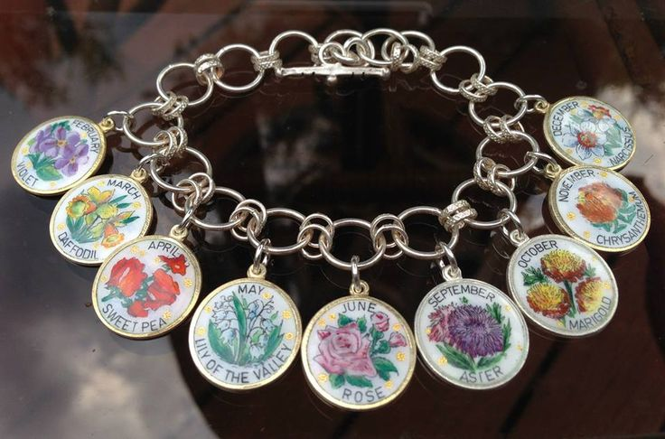 eCharmony Charm Bracelet Collection - Flower of the Month Enamel Charms