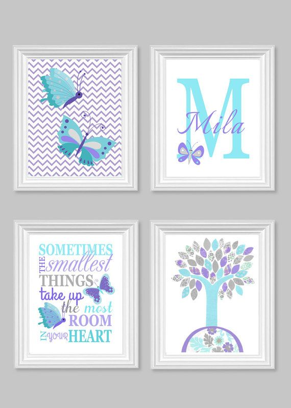 Butterfly ursery Art Aqua Gray Purple Baby by SweetPeaNurseryArt
