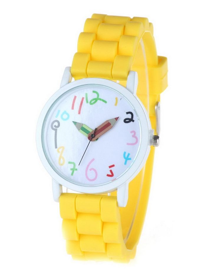 Happy Cherry Kids Candy Colors Rubber Band Quartz Wrist Watch Sports Watch for Students Yellow. Large dial, clear shilly numbers, pencil pointer, candy-colored strap. Glass mirror, screw-down crown, stainless steel clasp. Mutiple corlors for your choice, fashionable sports watch for kid's school gift. Electric quartz movement. Life water resistant: withstands rain and splashes of water, but not wear it to take shower, swim, dive, etc.