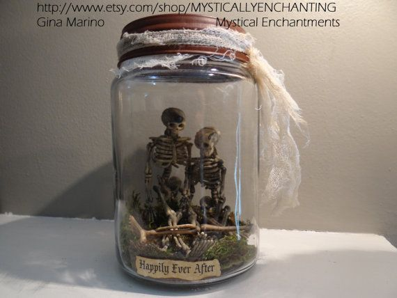 Primitive style HALLOWEEN Jar Of Skeletons by MYSTICALLYENCHANTING, $16.50