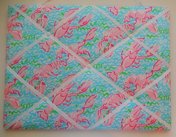 new memo board made with lilly pulitzer lobstah roll fabric